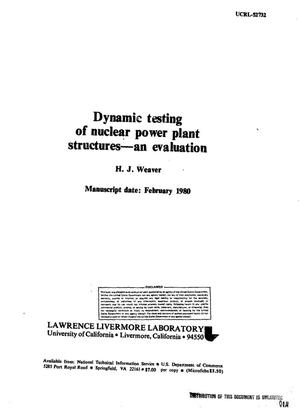 Primary view of object titled 'Dynamic testing of nuclear power plant structures: an evaluation'.