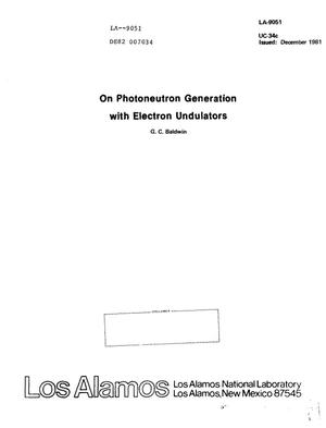 Primary view of object titled 'Photoneutron generation with electron undulators'.