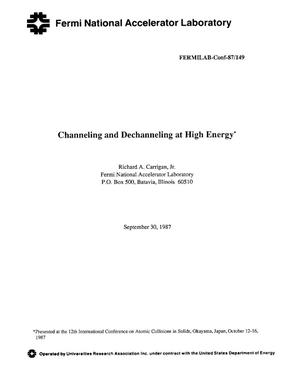 Primary view of object titled 'Channeling and dechanneling at high energy'.