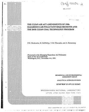 Primary view of object titled 'The Clean Air Act Amendments of 1990: Hazardous Air Pollutant Requirements and the DOE Clean Coal Technology Program'.