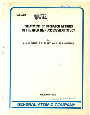 Primary view of object titled 'Treatment of operator actions in the HTGR risk assessment study'.