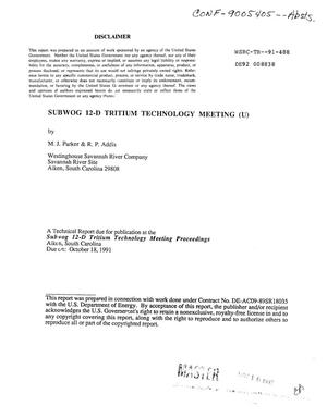 Primary view of object titled 'Subwog 12-D tritium technology meeting'.