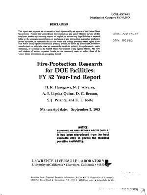 Primary view of object titled 'Fire-protection research for DOE facilities: FY 82 year-end report'.