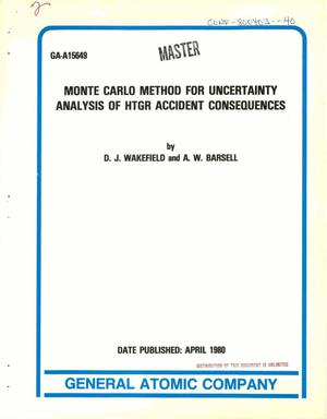 Primary view of object titled 'Monte Carlo method for uncertainty analysis of HTGR accident consequences'.