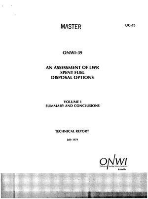 Primary view of object titled 'Assessment of LWR spent fuel disposal options. Volume 1. Summary and conclusions'.