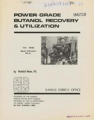 Primary view of object titled 'Power-grade butanol recovery and utilization'.