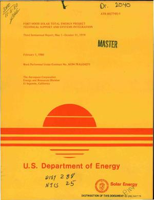 Primary view of object titled 'Fort Hood solar total energy project: technical support and systems integration. Third semiannual report, May 1, 1979-October 31, 1979'.