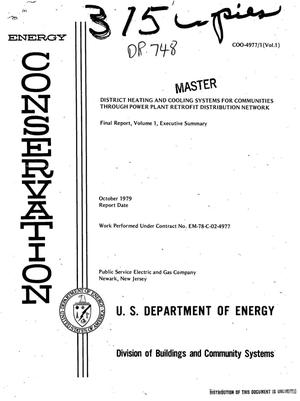Primary view of object titled 'District heating and cooling systems for communities through power plant retrofit distribution network. Volume 1. Executive summary final report, September 1, 1978-May 31, 1979'.
