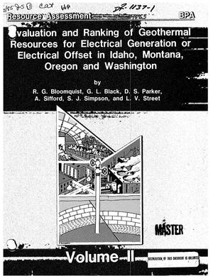 Primary view of object titled 'Evaluation and Ranking of Geothermal Resources for Electrical Generation or Electrical Offset in Idaho, Montana, Oregon and Washington. Volume II.'.