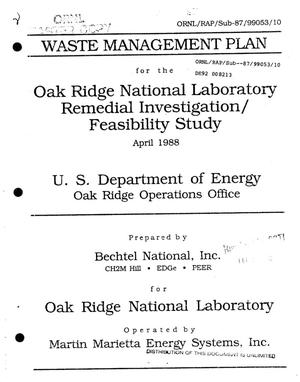 Primary view of object titled 'Waste Management Plan for the Oak Ridge National Remedial Investigation/Feasibility Study'.