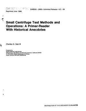 Primary view of object titled 'Small centrifuge test methods and operations: a primer-reader with historical anecdotes'.