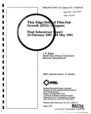 Primary view of object titled 'Thin edge-defined film-fed growth (EFG) octagons'.