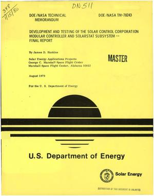 Primary view of object titled 'Development and testing of the Solar Control Corporation modular Controller and Solarstat Subsystem. Final report'.