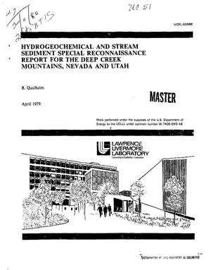 Primary view of object titled 'Hydrogeochemical and stream sediment special reconnaissance report for the Deep Creek Mountains, Nevada and Utah'.