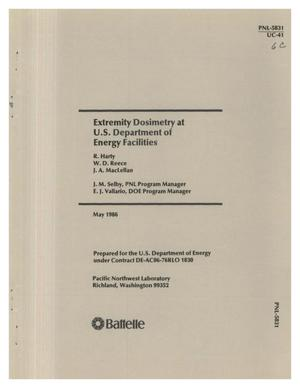 Primary view of object titled 'Extremity dosimetry at US Department of Energy facilities'.
