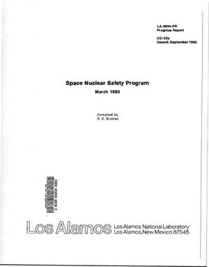 Primary view of object titled 'Space Nuclear Safety Program, March 1983. Progress report. [General-Purpose Heat Source; He release]'.