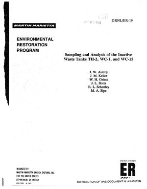 Primary view of object titled 'Sampling and analysis of the inactive waste tanks TH-2, WC-1, and WC-15'.