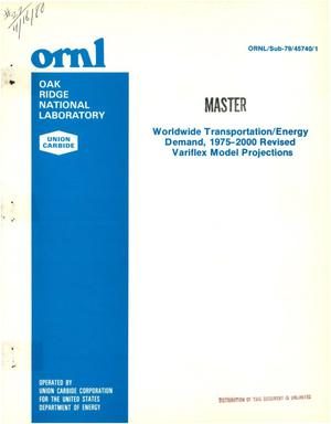 Primary view of object titled 'Worldwide transportation/energy demand, 1975-2000. Revised Variflex model projections'.