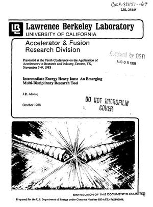Primary view of object titled 'Intermediate energy heavy ions: An emerging multi-disciplinary research tool'.
