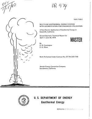 Primary view of object titled 'Multi-use geothermal energy system with augmentation for enhanced utilization. Non-electric application of geothermal energy in Susanville, California. Second quarterly technical report, April 1-June 30, 1978'.