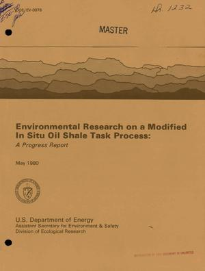 Primary view of object titled 'Environmental research on a modified in situ oil shale task process. Progress report'.