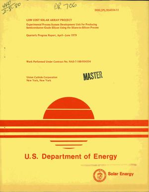 Primary view of object titled 'Low Cost Solar Array Project: experimental process system development unit for producing semiconductor-grade silicon using the silane-to-silicon process. Quarterly progress report, April-June 1979'.