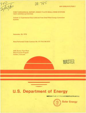 Primary view of object titled 'First semiannual report: Rocky Flats Small Wind Systems Test Center activities. Volume II. Experimental data collected from small wind energy conversion systems'.