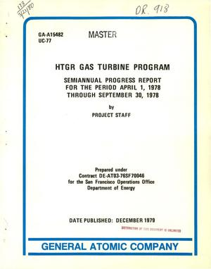 Primary view of object titled 'HTGR gas turbine program. Semiannual progress report, April 1-September 30, 1978'.