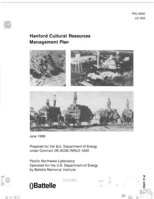 Primary view of object titled 'Hanford cultural resources management plan'.