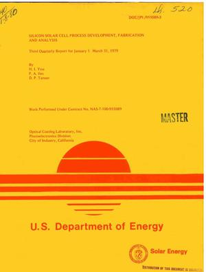 Primary view of object titled 'Silicon solar cell process development, fabrication and analysis. Third quarterly report, January 1-March 31, 1979'.