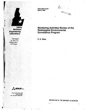 Primary view of object titled 'Monitoring activities review of the Radiological Environmental Surveillance Program'.