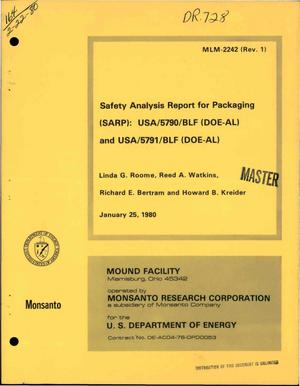 Primary view of object titled 'Safety Analysis Report for Packaging (SARP) for USA/5790/BLF (DOE-AL) and USA/5791/BLF (DOE-AL)'.