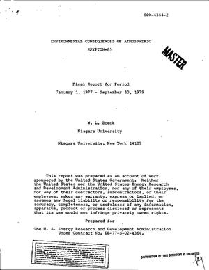 Primary view of object titled 'Environmental consequences of atmosphereic krypton-85. Final report, January 1, 1977-September 30, 1979'.
