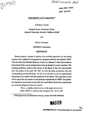 Primary view of object titled 'Discrete anti-gravity'.