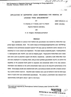 Primary view of object titled 'Application of supported liquid membranes for removal of uranium from groundwater'.