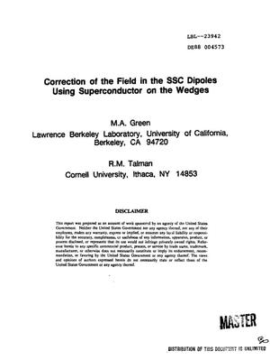Primary view of object titled 'Correction of the field in the SSC dipoles using superconductor on the wedges'.