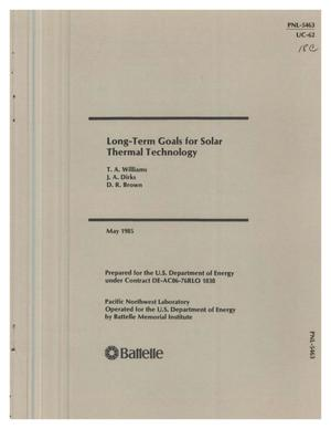 Primary view of object titled 'Long-term goals for solar thermal technology'.
