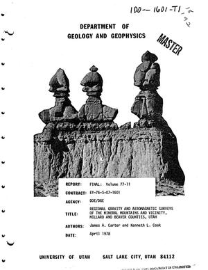 Primary view of object titled 'Regional gravity and aeromagnetic surveys of the Mineral Mountains and vicinity, Millard and Beaver Counties, Utah'.
