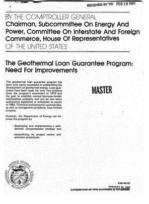 Primary view of object titled 'Geothermal Loan Guarantee Program: need for improvements'.