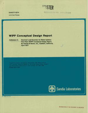Primary view of object titled 'WIPP conceptual design report. Addendum E. Electrical load summary for Waste Isolation Pilot Plant'.