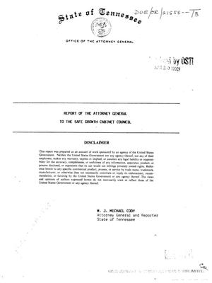Primary view of object titled 'Report of the Attorney General to the Safe Growth Cabinet Council'.