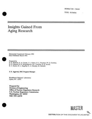 Primary view of object titled 'Insights gained from aging research'.