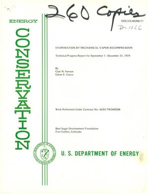 Primary view of object titled 'Evaporation by mechanical vapor recompression. Technical progress report, September 1-December 31, 1979'.