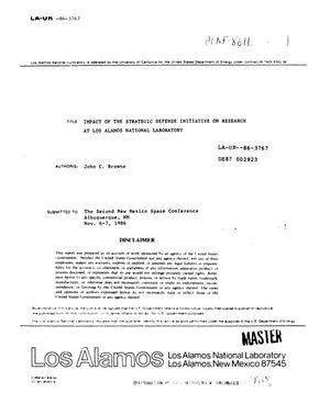 Primary view of object titled 'Impact of the Strategic Defense Initiative on research at Los Alamos National Laboratory'.
