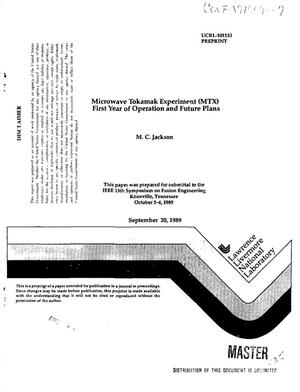 Primary view of object titled 'Microwave tokamak experiment (MTX) first year of operation and future plans'.
