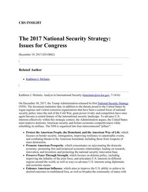 Primary view of object titled 'The 2017 National Security Strategy: Issues for Congress'.
