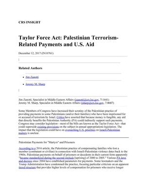 Primary view of object titled 'Taylor Force Act: Palestinian Terrorism-Related Payments and U.S. Aid'.