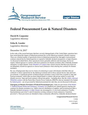 Primary view of object titled 'Federal Procurement Law and Natural Disasters'.
