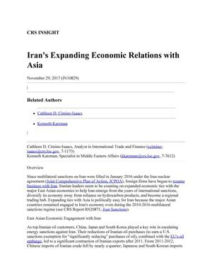 Primary view of object titled 'Iran's Expanding Economic Relations with Asia'.