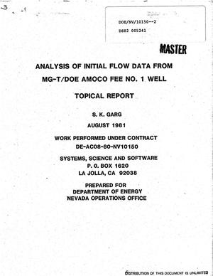 Primary view of object titled 'Analysis of initial flow data from MG-T/DOE Amoco Fee No. 1 Well'.